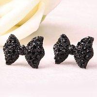 Wholesale Black Metal Earrings - 2016 New hot Fashion Simple Vintage Metal Black Butterfly Bow stud earrings lady ear jewelry for women