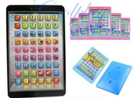 Wholesale Computer Toys Spanish - Puzzle Toys For Children Spanish Russian Portuguese Flat Computer PAD Learning Machine Music Sound Rechargeable Touch Reflect Toy 14 8kr G1