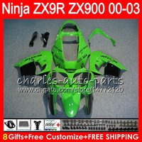 Wholesale Kawasaki Zx9r Black - 8Gifts 23Colors For KAWASAKI NINJA ZX 9 R ZX-9R 2000 2001 2002 2003 green black 40NO82 ZX 9R 900CC ZX900 ZX900C ZX9R 00 01 02 03 Fairing kit