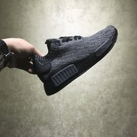 Wholesale R1 Carbon Fiber - With Real Carbon Fiber NMD R1 Primeknit Pitch Black Boost Running Shoes for 2016 New Men's Casual Shoes Size 36-45 Ship With box