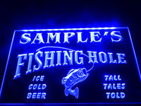 Wholesale Fly Ul - DZ054b- Name Personalized Custom Fly Fishing Hole Den Bar Beer Gift LED Neon Beer Sign