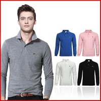 Wholesale Casual Costumes For Men - Luxury Men Brand Polo Shirt Long Sleeve T Shirts for Men Costume Clothing Polo T Shirt Freeshipping