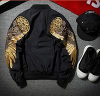 Wholesale Angels Jackets - 2017 New Spring Black Angel Wing Embroidery Bomber Jacket Men Streetwear hip hop MA1 baseball jacket