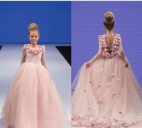 Wholesale Mesh Back Flowers - Pageant Dresses Little Girls Sleeves Lace Appliques Rosette Open V Back Ruffle Kids Toddler Pink Infant Mesh Ball Gowns 0-14Y
