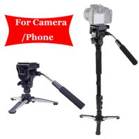 Wholesale Pro Fluid Camera - For Canon Nikon DSLR Camera Yunteng 288 Pro Photography Monopod VCT-288 + Fluid Pan Head Ball + DV Unipod Phone Clip Holder