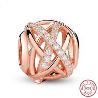 pulsera de plata esterlina al por mayor-Color oro Galaxy, Rose Clear CZ Bead 925 Sterling Silver Charm Fit pulsera Fabricación de la joyería Envío gratis