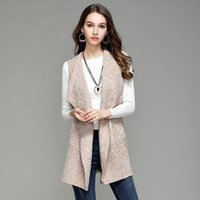 Wholesale womens long vest l - 2017 Vest Womens Coat Casual Long Knitted Cardigan Vests Autumn Women Loose Solid Color Design Jacket Female Plus Size Coats