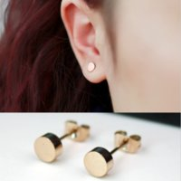 Wholesale Cute Stud Earrings Cheap - Rose gold Plated Yellow gold Plated  Platinum Plated Titanium Steel Mini Round Shape Small Cute Women Stud Earrings Cheap Earrings