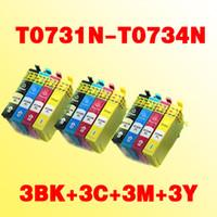 Wholesale Wholesale Inkjet Cartridges - 12pcs compatible inkjet ink cartridges T073N T0731N T0734N for epson TX400 TX105 TX115 TX300F TX600F printer