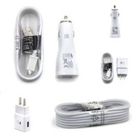 Wholesale Micro Usb Adapter Cable Kit - Fast Wall Charger Car Chargers Travel Adapter 1.5M Micro USB Cable Kits 5V 2A US EU Version Plug No Logo For Samsung