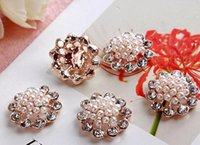Wholesale Craft Metal Embellishment Flowers Wholesalers - Diamond flower buckle 50pcs lot22MM metal rhinestone button diamante crystal wedding embellishment crafting DIY accessory