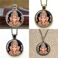 Wholesale Handmade Keyring - 10pcs Indian God Handmade Lord Ganesha Pendant Hindu Ganesh God Necklace keyring bookmark cufflink earring bracelet
