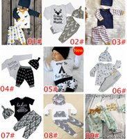 Wholesale Tshirt Kids Top - 2017 XMAS Spring Ins Infant Baby Christmas Deer Moose 3pcs Set Kids Girls Boys Long Sleeve Cotton Tops Tshirt Romper + Pants + Hat Outfits