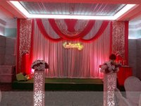 Wholesale Ice Dance - 20ft*10ft Luxury ice silk Wedding Backdrop Stage Curtains with swags Silver Sequin Fabric Wedding Props Satin Drape curtain party decoration