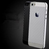 Wholesale Iphone Carbon Stickers - Carbon fiber backface protective film For iPhone 5S Cover back face insulation drawbench sticker protective mobile phone