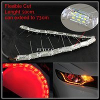 Wholesale Led Sequential Turn Signal - Red Amber Yellow Sequential LED strips Flexible Car LED DRL stripes LED Daytime Running Light with Turn Signal Lights DRL strips