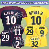 Wholesale Shirts Female - MBAPPE 29 Female SOCCER JERSEY NEYMAR JR 11 shirt AURIER T SILVA CAVANI 9DI MARIA PASTORE Verratti jerseys 2017 2018 football LUCAS Women