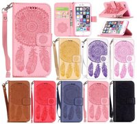 Geprägte Dreamcatcher Flip Brieftasche Leder TPU Card Slots Fall Für iPhone 5 5 S SE 6 6 S 7 8 Plus X Samsung Galaxy S8 Hinweis Note8 Grand Prime