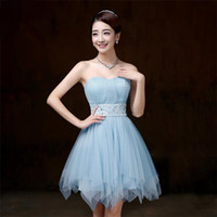 Wholesale Bridesmaid Dress 26 - Free Shipping Women's A-line Short Mini Satin Tulle Sleeveless Sweetheart Blush Bridesmaid Dresses Plus Size Under 50 PSQY 26