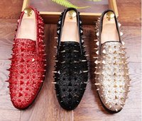 Wholesale Men Long Shoes - New Handmade Long Gold Rivet Men Red Bottom Loafers Gentleman Luxury Fashion Stress Shoes Men Wedding and Party Slip on Flats
