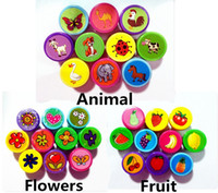 Wholesale Rubber Stamps Set - Wholesale- 10pc lot 100% good quality Animal Fruit flowers cartoon self inking stamp set gift for kids scrapbooking DIY decoration