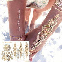 Wholesale Henna Stickers - Wholesale-Gold Choker Temporary Tattoo Body Art Sleeve Arm Flash Tattoo Stickers, 21*15cm Waterproof Tatto Henna Fake Tatoo Beauty Selfie