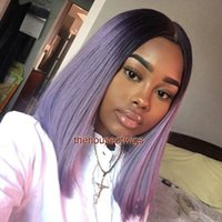 Wholesale Purple Hair Wig Ponytail - 1b Purple Ombre Lace Front Wigs Glueless Full Lace Wigs With baby hair bleached knots high ponytail
