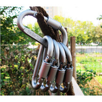 Wholesale D Shape - Durable D Shaped Buckle Spring Snap Hook Carabiner Clasp Wire Rope Clip for Outdoor Travel Camping.