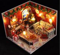 ingrosso stanza di legno in miniatura di bambola della bambola-Fai da te casa delle bambole in legno con LED casa delle bambole in miniatura soggiorno con coperchio di Natale