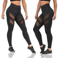 Wholesale Woman Yogo - Wholesale New Fashion Leggings Activity Style Women Leggings Black Mesh Patchwork Sweatpants Slim Women's Sport Yogo Pants CK1123