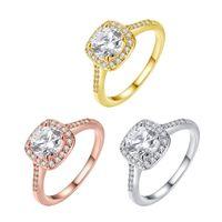 anel banhado a ouro das meninas venda por atacado-Luxo Pedra Banhado A Ouro Anel Mulheres Menina Elegante Rosa de Ouro Amarelo Ouro de Cristal Presente de Casamento Jóias Anéis de Dedo