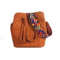 Wholesale Office Shoulder Bag - 7Colors Fashion Colorful Strap Bucket Bag Designer Women Handbags Purse Office Ladies Crossbody Shoulder Bag Composite Bag Wholesale