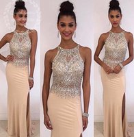 Wholesale Legging Sexy Models - 2017 New Arrival Beads Crystal Sleeveless Prom Dresses Side Leg Slit Light Champagne Sheath Evening Gowns Graduation Party Dress