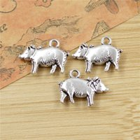 Wholesale Antique Pig - Wholesale- 10 pcs Pig Charms Pendants for Jewelry Making Vintage Antique Silver Plated DIY handmade 21*16mm