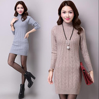 Wholesale thick long sleeve sweater dress - Wholesale- Autumn and winter new turleneck knit dress Long Sleeve Women Sweater Dress Pullovers Plus Size xxxl
