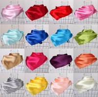 Wholesale Silk Neckerchief Square - 23 Colors Women Fashion Soft Silk Square Scarf Small Plain Neckerchief Head Neck Headband 60cm X 60cm