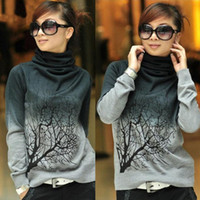 Wholesale Korean Women Xs Wool Coat - Wholesale-Korean Women Turtleneck Branch Print Sweater Wool Pullover Coat Tops 4 Sizes