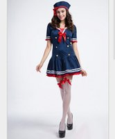 Новый взрослый Sexy Sailor Cosplay Halloween Bow Blue Women Dress Uniform Temptation Club Party Clothing Горячие предложения