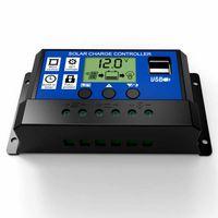 controlador solar pwm al por mayor-10A 20A 30A 12 V 24 V LCD PWM Voltaje Controlador de carga solar Batería PV panel de la célula Cargador Regulador Lámpara 100W 200W 300W 400W 500W
