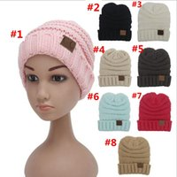 Wholesale Wholesale Acrylic Babies - 30 Pcs kids Winter Warm Hat Knitted CC Hat Label Children Simple Chunky Stretchable kids Knitted Beanies Baby Hat Beanie Skully Hats YYA275