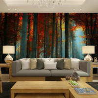 Wholesale photo decal paper - Wholesale-Custom wall decor papier murals papel de parede autumn birch trees forest photo wallpaper mural for living room bedroom decal