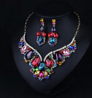 Wholesale Trendy Gemstone Silver Set - Shiny Bling 2018 Luxury Set Crystal Gemstone Necklace Earrings Short Clavicle Dresses Dinner Women's Sweater Chains