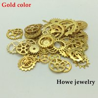 Wholesale Diy Steampunk - Mixed 100g steampunk gears and cogs clock hands Charm Gold-color Fit Bracelets Necklace DIY Metal Jewelry Making