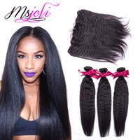Wholesale Human Hair Yaki Wefts - Human Hair Wefts with Closure 13x4 Frontal Ear To Ear Indian Natural Unprocessed Hair Kinky Straight Yaki Hair Weave 3 Bundles Frontal