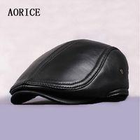 Wholesale Leather Berets - Wholesale- HL041 New 2016 Design Men's 100% Genuine Leather base ball Cap  Newsboy  Beret  Cabbie Hat  Golf Hat