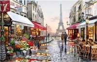 Wholesale Landscape Thick Paintings - Diy digital oil painting by numbers paint drawing coloring by number canvas hand painted picture wall decor eiffel towel E190