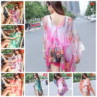 Wholesale Sarong Bikini Cover - Chiffon Beach Smock Sarong Wrap Pareo Bikini Cover Ups Driving Scarves Beach Dress Sunscreen Shawl Beachwear Swimdress Scarf OOA1453