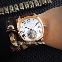Wholesale Super White 41mm - Super Clone Luxury Brand DRIVE DE 41mm W4100013 Automatic Tourbillon White Dial Mens Watch Rose Gold Leather Strap Watches With Woods Box