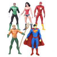 Wholesale Finish Model - 7 Pcs lot Super Heroes PVC Action Figure Superman Batman Wonder Woman Flash Collection Model Toy