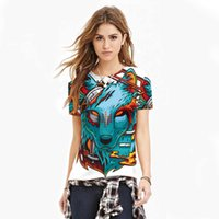 Wholesale Loose smooth girls thin cool t shirts d print blue fox printed womens t shirt fashion big size casual sweatshirt short sleeve tees